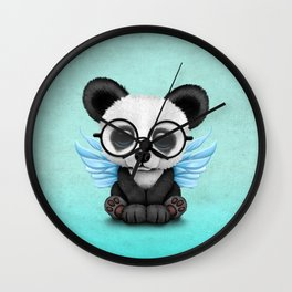 Cute Panda Cub with Fairy Wings and Glasses Blue Wall Clock