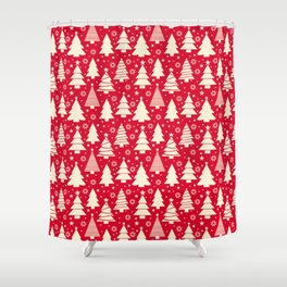 Festive Red Christmas Trees Shower Curtain