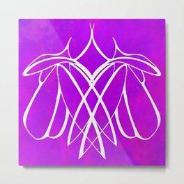 Mum and Mum Line Drawing White On Lavender Pink Metal Print
