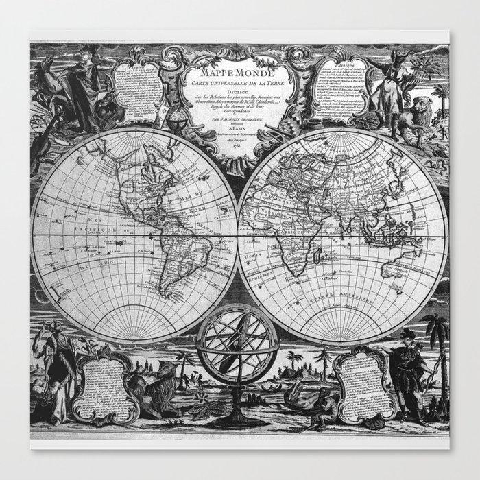 Vintage Old Map Design Canvas Print