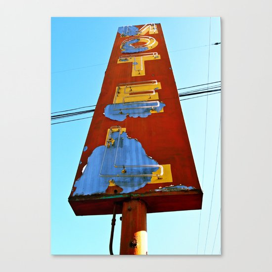 Old 99 Motel Sign Canvas Print