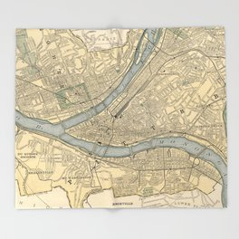 Vintage Map of Pittsburgh PA (1891) Throw Blanket