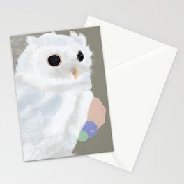 White Owl and Geometry Stationery Cards