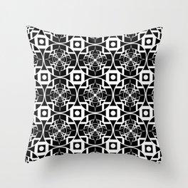 Convergence Pattern - Black on White Throw Pillow