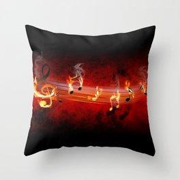 Hot Music Notes Throw Pillow