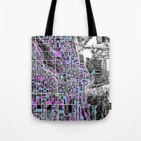 chicago map Tote Bags featuring chicago  by Bekim ART