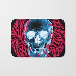 Gothic Calligraphy on Skull saying Always Hungry Bath Mat