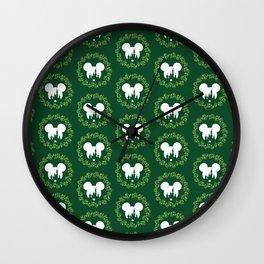 Fairytale Castle Christmas Wreath Mouse Ears Wall Clock