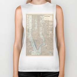Vintage Map of New York City (1893) Biker Tank