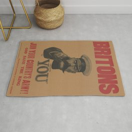 Vintage British First World War Poster - Kitchener Wants You to Join your Country's Army (1914) Rug