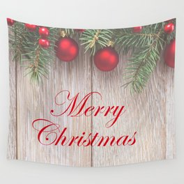 Merry Christmas Garland, Berries & Ornaments on Weathered Wood Wall Tapestry