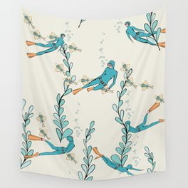 Marine underwater pattern with divers Wall Tapestry