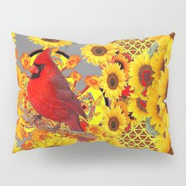 MODERN ABSTRACT RED CARDINAL YELLOW SUNFLOWERS GREY ART Pillow Sham
