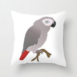 Cute African grey parrot vector Throw Pillow