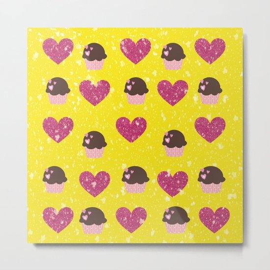 Hearts and cupcakes Metal Print