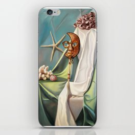 Still life with the Venetian mask and corals iPhone Skin