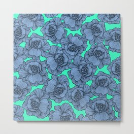 Aqua Teal Blue and Black Modern Line Art Flowers Metal Print