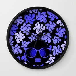 Afro Diva : Indigo Blue Periwinkle Wall Clock