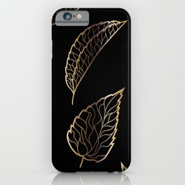 Black & Gold Feather Pattern iPhone Case