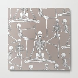 Skeleton Yoga Grey Metal Print