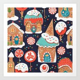 Gingerbread Candy Land Art Print