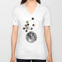 kubrick V-neck T-shirts featuring Moon by J Arell