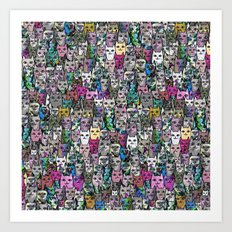 Gemstone Cats CYMK Art Print