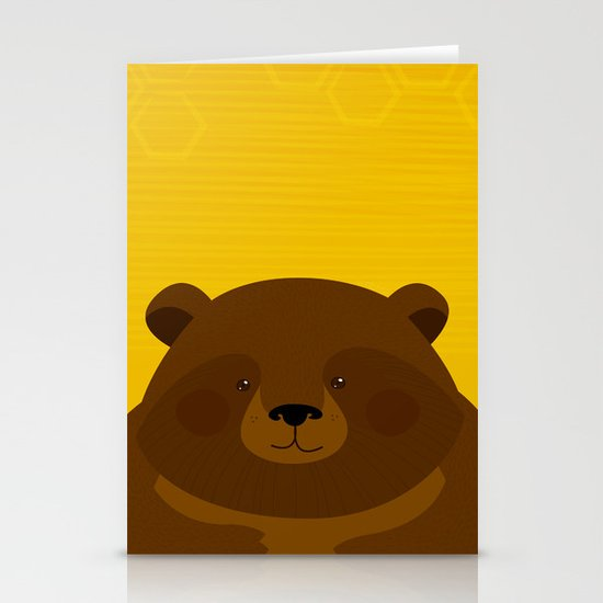 Bees and Bear by Friztin Stationery Cards