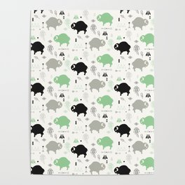 Seamless pattern with cute baby buffaloes and native American symbols, white Poster