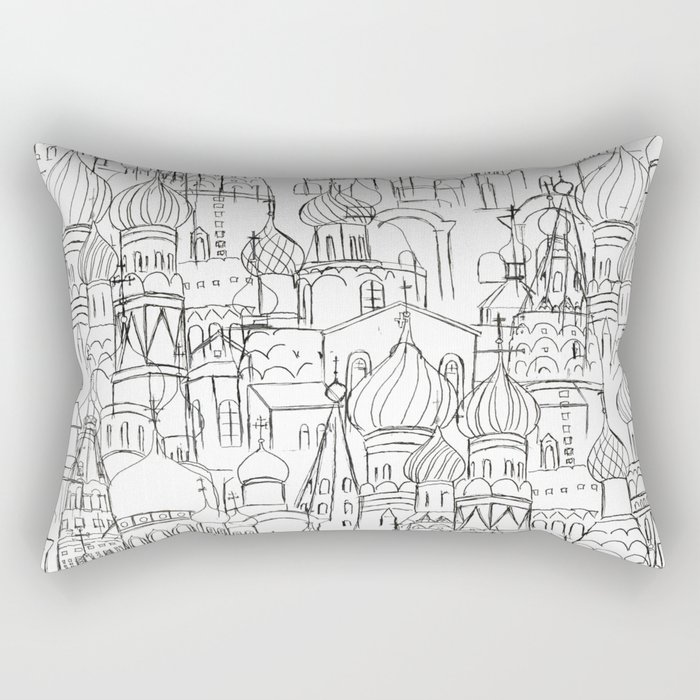 Russian cathedral church line drawing Rectangular Pillow