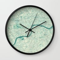 vintage map Wall Clocks featuring London Map Blue Vintage by City Art Posters