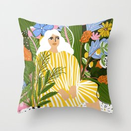 The Jungle Lady Throw Pillow