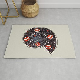Spiral Galaxy Snail With Beach Ball Planets Rug