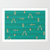 swimming Art Prints featuring Swimming by Mimi