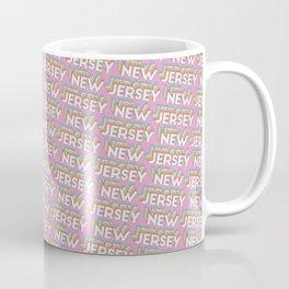 New Jersey, USA Trendy Rainbow Text Pattern (Pink) Coffee Mug