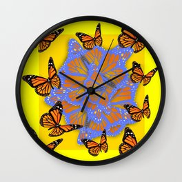 MONARCH BUTTERFLIES ABSTRACT ON YELLOW-GOLD Wall Clock