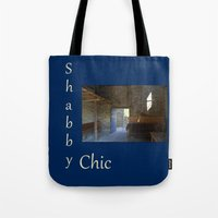 shabby chic Tote Bags featuring Shabby Chic by  Linda Prewer ART