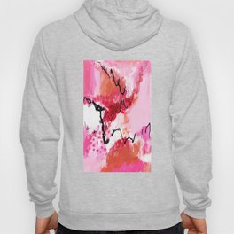Abstract pink painting with texture triptych II Hoody