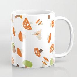 Artistic hand painted orange green autumn mushroom pattern Coffee Mug
