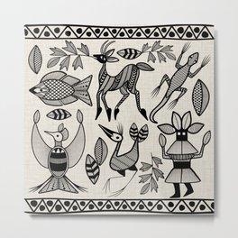 African Senufo Korhogo Tribal Ethnic Art Seamless Pattern Metal Print