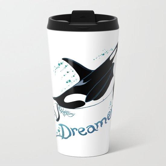 Dreamer Orca (Amber Marine, Indie Wildlife Artist Official Logo, copyright 2015) Killer Whale Art Metal Travel Mug