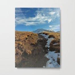 Snowy mountain trail Metal Print
