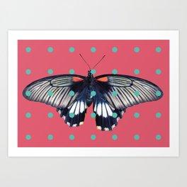 Butterflies and Polka Dots 01 Art Print