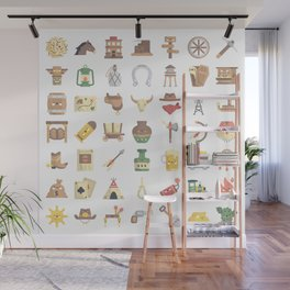 CUTE WILD WEST / COWBOY PATTERN Wall Mural