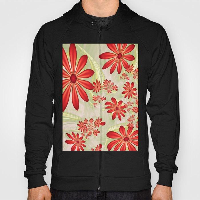 Dancing Red Flowers, Fractals Art Hoody