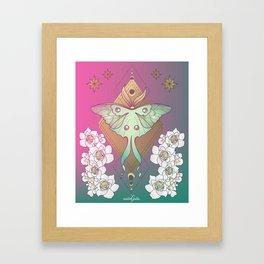Luna Moth Magenta Framed Art Print