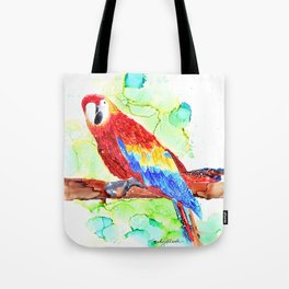 Watercolored Parrot Tote Bag