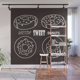 vector stylish drawing of donuts on black background for template and other design. Eps 10 on layers Wall Mural