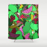 fruit Shower Curtains featuring Fruit by Marie Mars