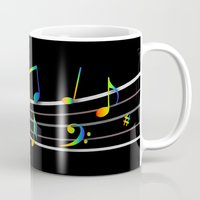 music notes Mugs featuring Rainbow Music Notes on Black by GBC Design